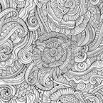 Monocromático Fantasy Garden Design de padrão vetorial sem costura
