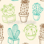 Cacti In Pots Seamless Vector Pattern Design