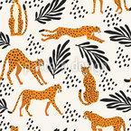 Folge Den Geparden Nahtloses Vektormuster