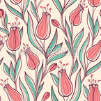 Rising Tulips Seamless Vector Pattern Design