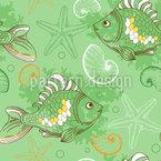Doodle subaquático criativo Design de padrão vetorial sem costura