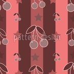 Cherries On Stripes Seamless Vector Pattern Design