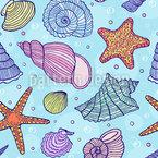 Estrellas de mar y conchas Estampado Vectorial Sin Costura