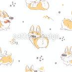 Cheerful Corgi Seamless Vector Pattern Design