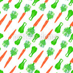 Carrots And Cabbage Seamless Vector Pattern Design