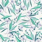 Gras Und Blätter Nahtloses Vektormuster