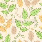 Autumnal Twigs Seamless Vector Pattern Design