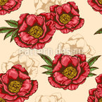 Blooming Peony Seamless Vector Pattern Design