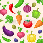 Fresh Vegetable Mix Seamless Vector Pattern Design