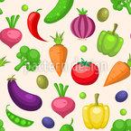 Frischer Gemüse-Mix Nahtloses Vektormuster
