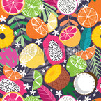 Exotischer Früchte-Mix Nahtloses Vektormuster
