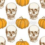 頭蓋骨とカボチャ シームレスなベクトルパターン設計