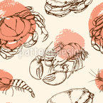 Crayfish And Lobsters Seamless Vector Pattern Design