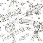 Reise In Den Weltraum Nahtloses Vektor Muster