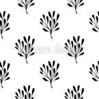 Monochrome Leaves Seamless Vector Pattern Design