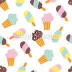 Mix de sorvete Design de padrão vetorial sem costura