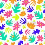 Fantasie-Blätter Und -Blumen Nahtloses Vektormuster