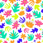 Fantasy Leaves And Flowers Seamless Vector Pattern Design