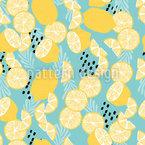 Exotic Summer Lemons Seamless Vector Pattern Design