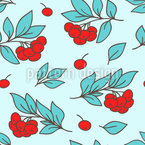 Rowan Berries And Leaves Seamless Vector Pattern Design