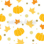 Autumn Leaves And Pumpkins Seamless Vector Pattern Design