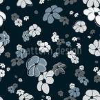 Blue Flower Rain Seamless Vector Pattern Design