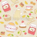 Süßigkeiten Und Tee Nahtloses Vektormuster