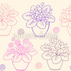 House Plants In Pots Seamless Vector Pattern Design
