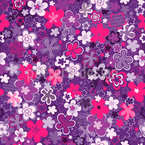 Tossed Wildflowers Seamless Vector Pattern Design