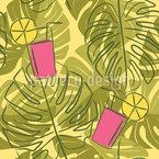 Monstera Blätter und Limonade Nahtloses Vektormuster