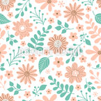 Flowers And Leaves Mix Seamless Vector Pattern Design