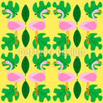 Flamingos Dance Party Seamless Vector Pattern Design