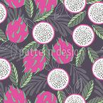 Verão Dragão Fruta Design de padrão vetorial sem costura