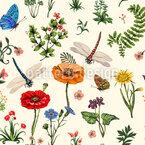 Sommerblumen und Kräuter Nahtloses Vektormuster