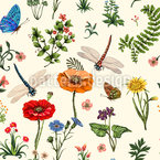 Summer Flowers And Herbs Seamless Vector Pattern Design
