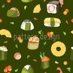 Onigiri und Sushi Nahtloses Vektormuster