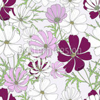 Cosmos Flowers Seamless Vector Pattern Design