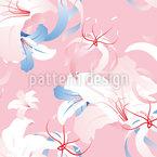 ロマンチックなユリの花 シームレスなベクトルパターン設計