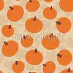 Pumpkins On Autumn Leaves Seamless Vector Pattern Design