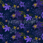 Midnight Passion Flower Seamless Vector Pattern Design