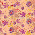 Sunrise Passion Flower Seamless Vector Pattern Design