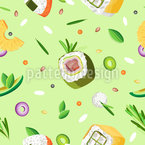 Various Sushi Seamless Vector Pattern Design
