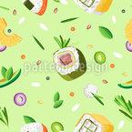 Verschiedenes Sushi Nahtloses Vektormuster