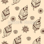 Hand Drawn Feathers Seamless Vector Pattern Design