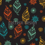 Hand Drawn Ethno Feathers Seamless Vector Pattern Design