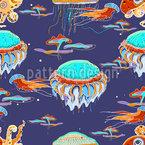 Unterwasser Fauna Nahtloses Vektormuster