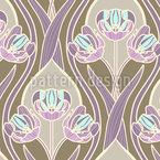 ロマンチックなヴィンテージチューリップ シームレスなベクトルパターン設計