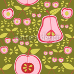 Fruit Garden Pink Seamless Vector Pattern Design