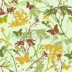 Flowers And Butterflies Mix Seamless Vector Pattern Design