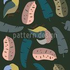 Folhas tropicais e tucanos Design de padrão vetorial sem costura